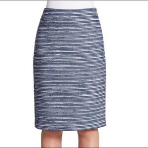 Lord & Taylor 424 Fifth Blue Boucle Pencil Skirt